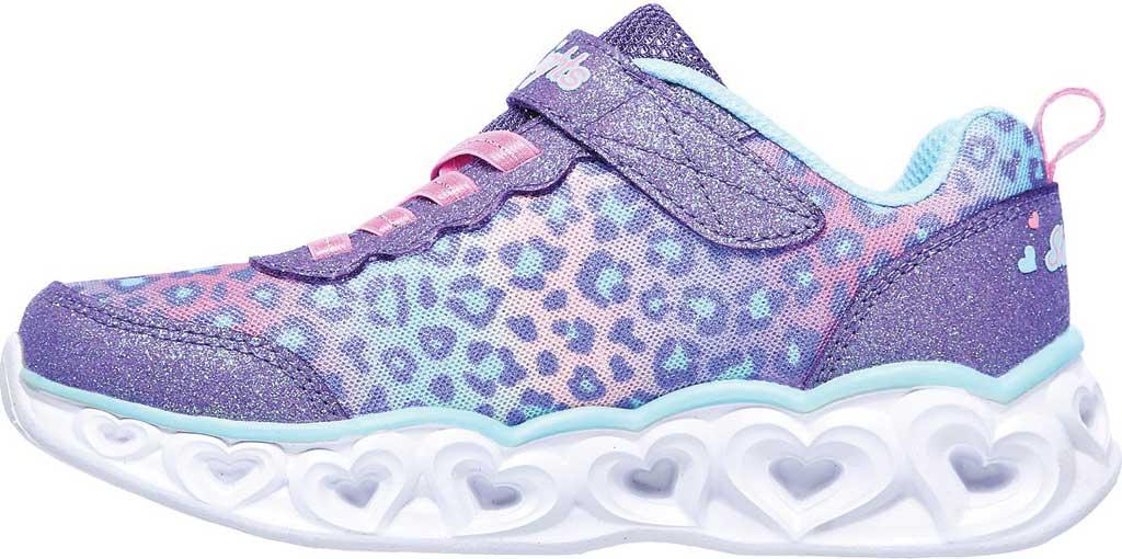 Girls' Skechers S Lights Heart Lights Love Match Sneaker, Lavender/Aqua, large, image 3