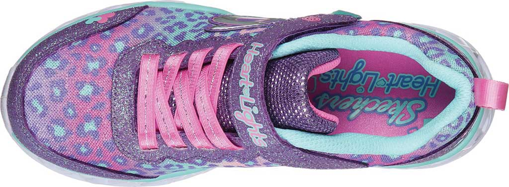 Girls' Skechers S Lights Heart Lights Love Match Sneaker, Lavender/Aqua, large, image 4