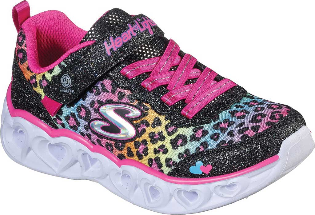 Girls' Skechers S Lights Heart Lights Love Match Sneaker, Black/Multi, large, image 1
