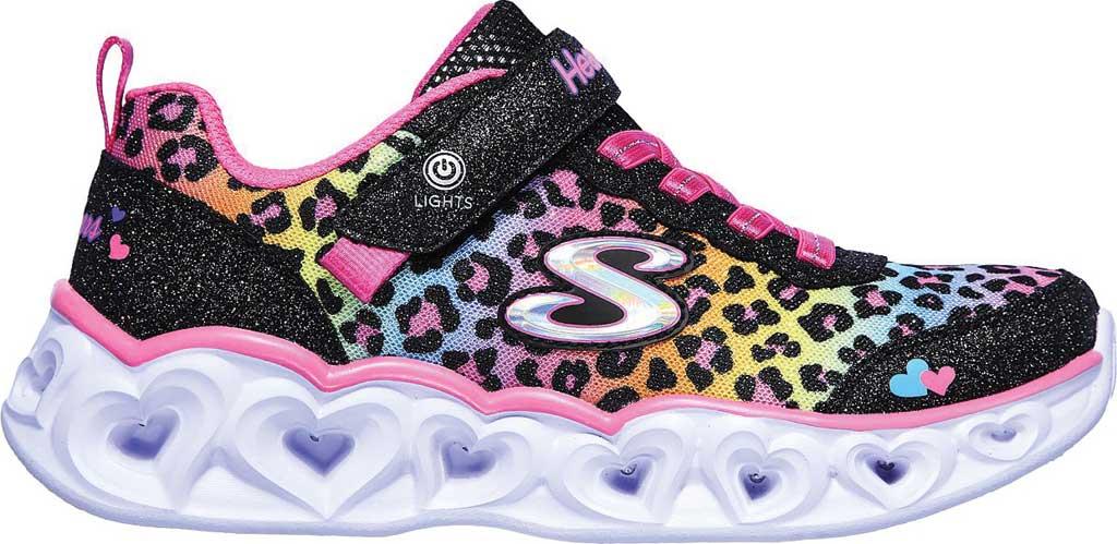 Girls' Skechers S Lights Heart Lights Love Match Sneaker, Black/Multi, large, image 2