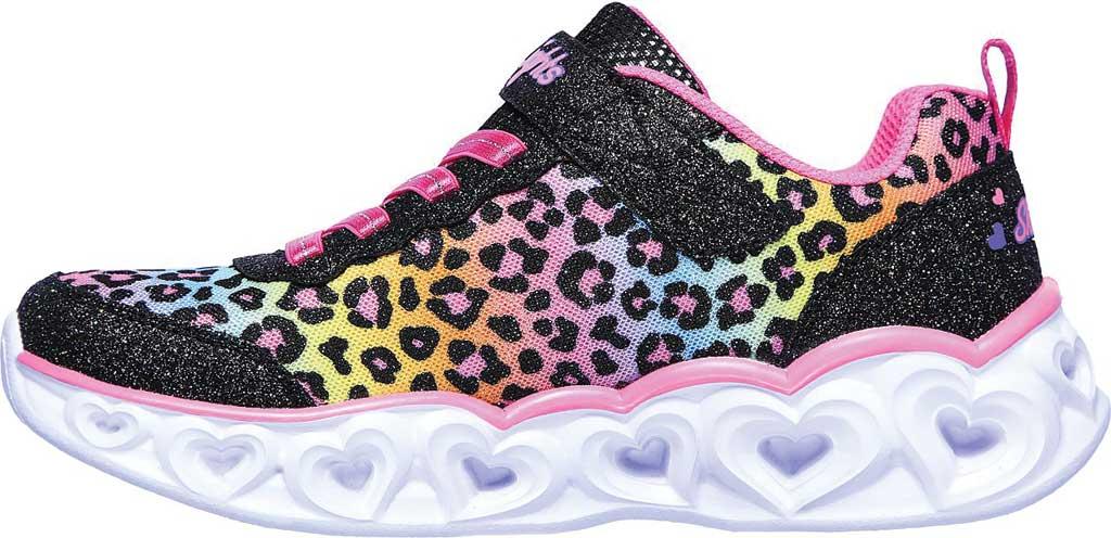 Girls' Skechers S Lights Heart Lights Love Match Sneaker, Black/Multi, large, image 3