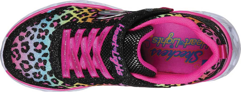 Girls' Skechers S Lights Heart Lights Love Match Sneaker, Black/Multi, large, image 4