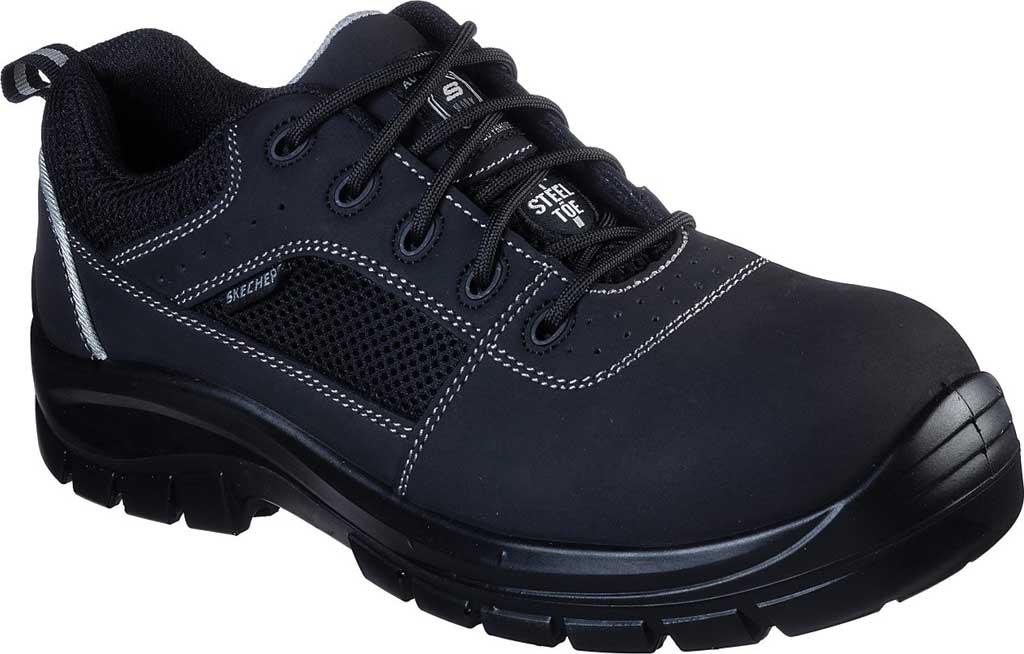 Men's Skechers Work Trophus Steel Toe Sneaker, Black, large, image 1