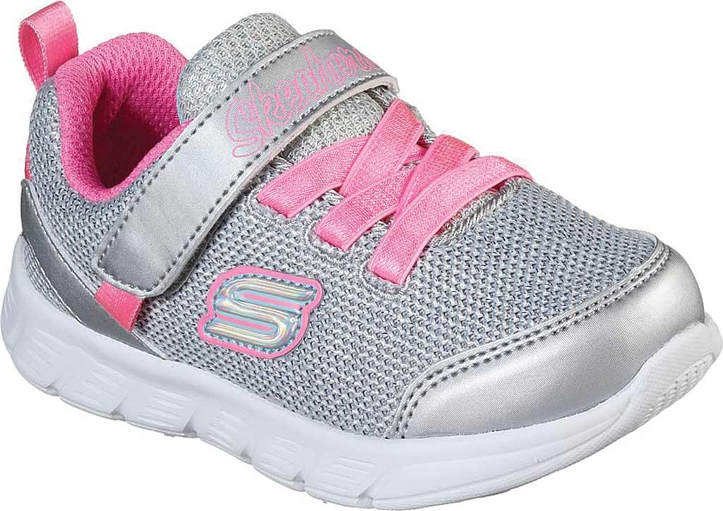 Infant Girls' Skechers Comfy Flex Moving On Sneaker, Silver/Hot Pink, large, image 1