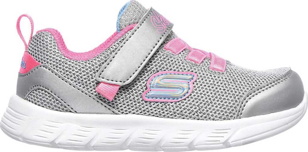 Infant Girls' Skechers Comfy Flex Moving On Sneaker, Silver/Hot Pink, large, image 2