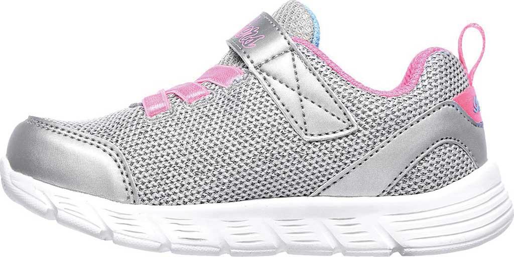 Infant Girls' Skechers Comfy Flex Moving On Sneaker, Silver/Hot Pink, large, image 3