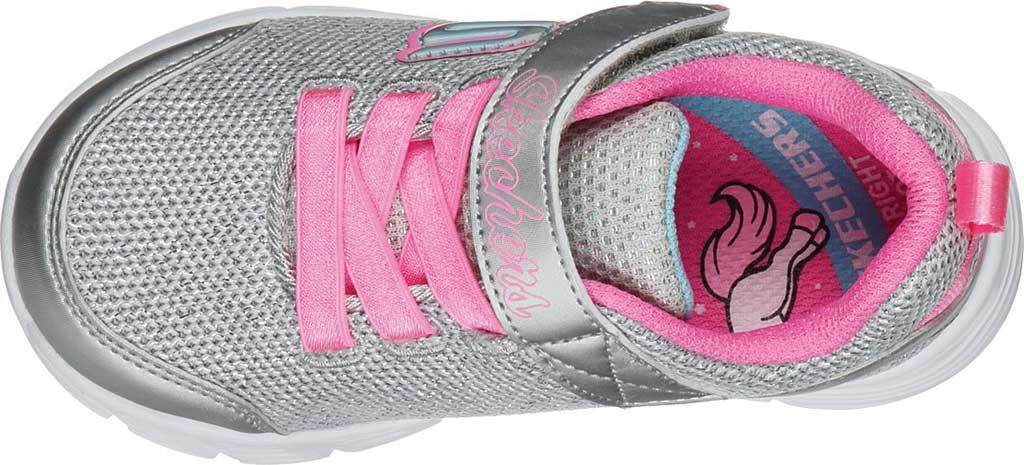 Infant Girls' Skechers Comfy Flex Moving On Sneaker, Silver/Hot Pink, large, image 4