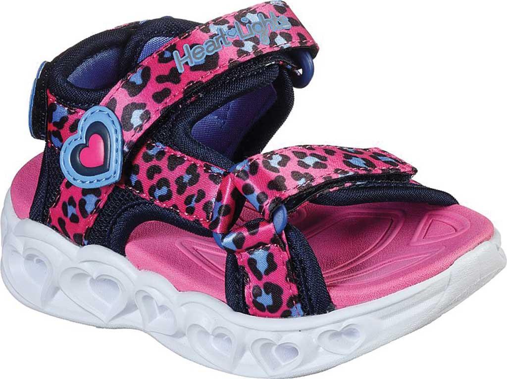 Infant Girls' Skechers S Lights Heart Lights Savvy Cat Sandal, Hot Pink/Blue, large, image 1