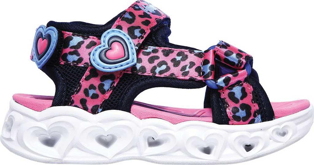 Infant Girls' Skechers S Lights Heart Lights Savvy Cat Sandal, Hot Pink/Blue, large, image 2