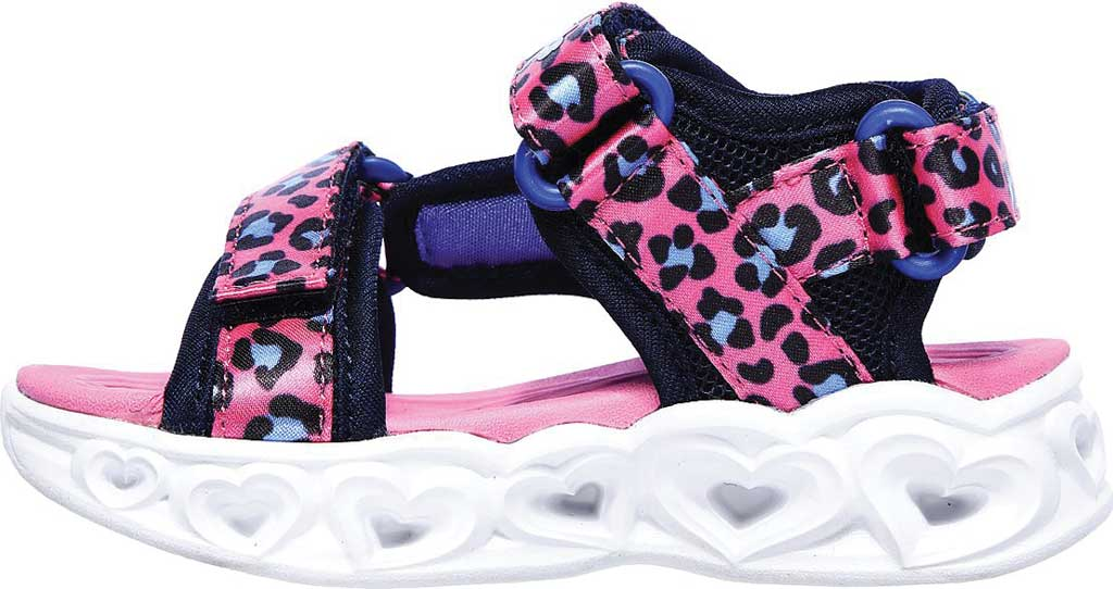 Infant Girls' Skechers S Lights Heart Lights Savvy Cat Sandal, Hot Pink/Blue, large, image 3