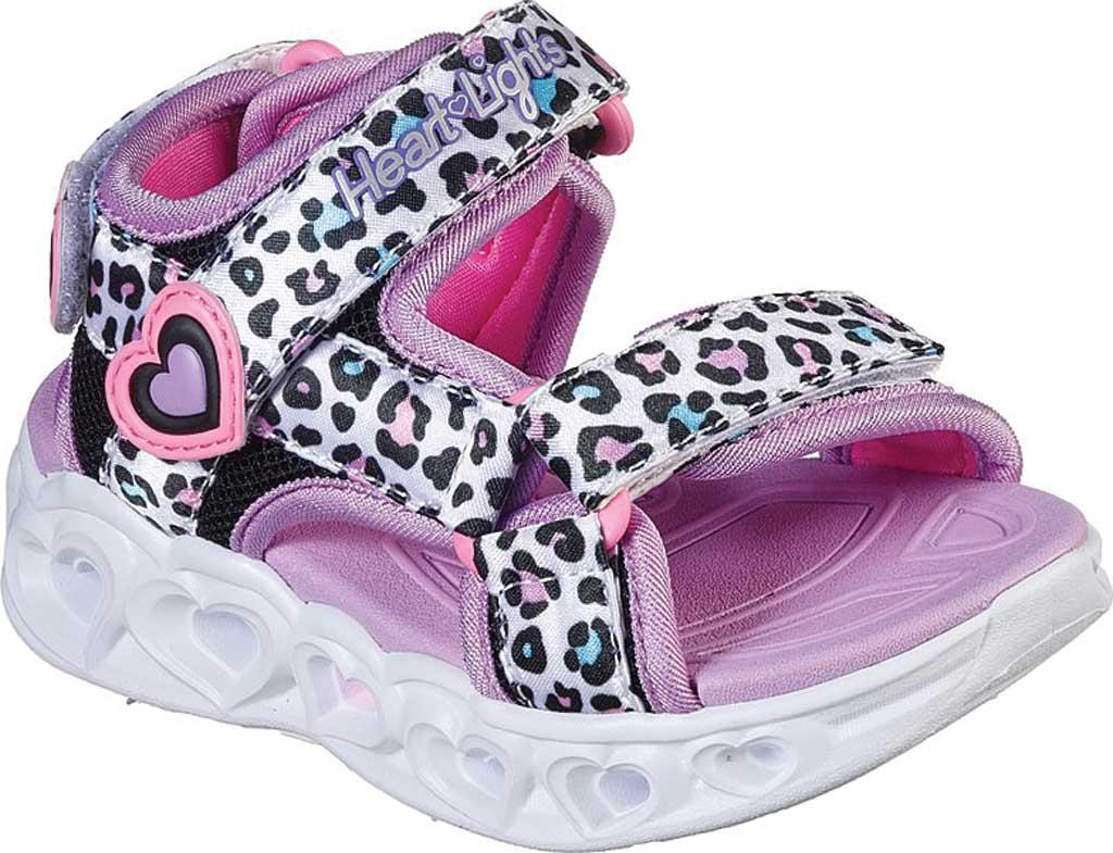 Infant Girls' Skechers S Lights Heart Lights Savvy Cat Sandal, White/Multi, large, image 1