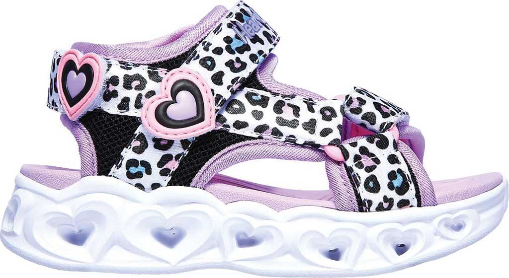 Infant Girls' Skechers S Lights Heart Lights Savvy Cat Sandal, White/Multi, large, image 2