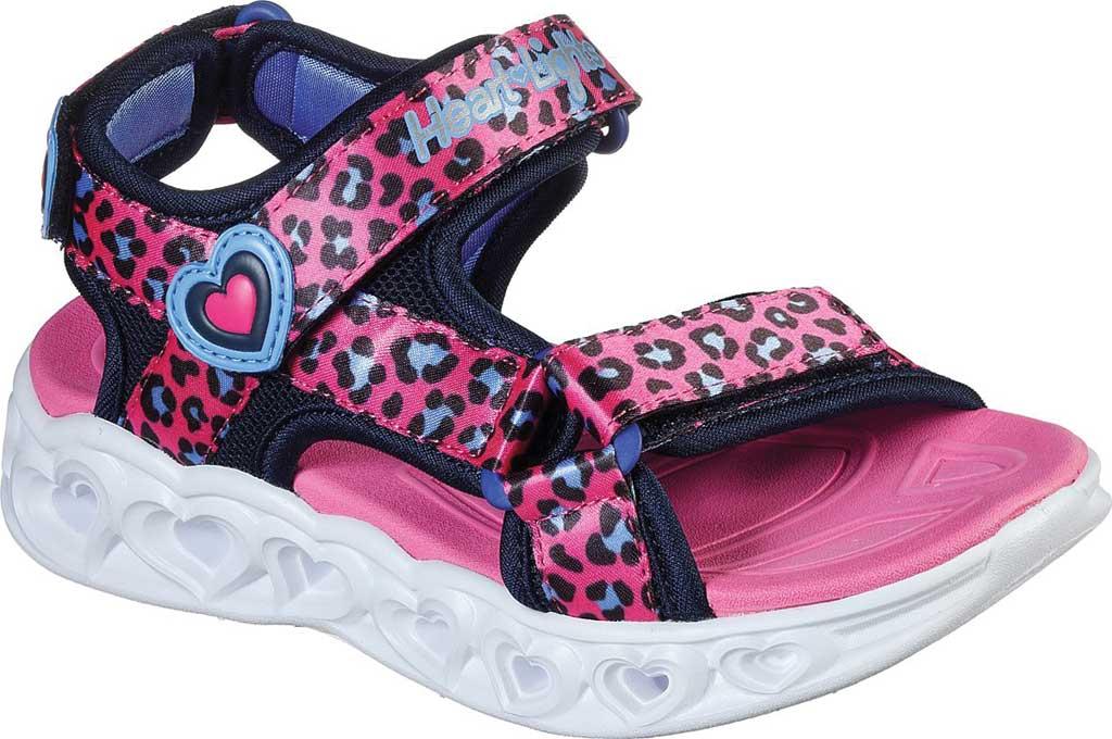 Girls' Skechers S Lights Heart Lights Savvy Cat Sport Sandal, Hot Pink/Blue, large, image 1