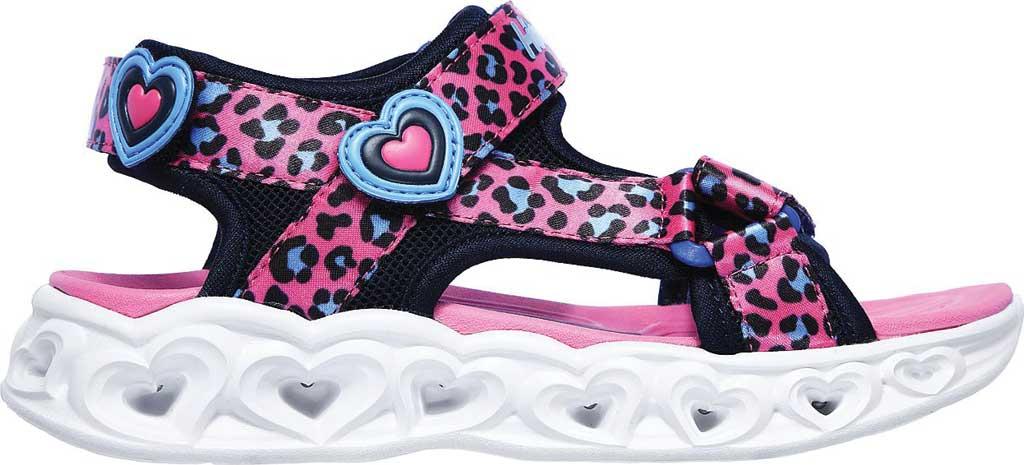 Girls' Skechers S Lights Heart Lights Savvy Cat Sport Sandal, Hot Pink/Blue, large, image 2
