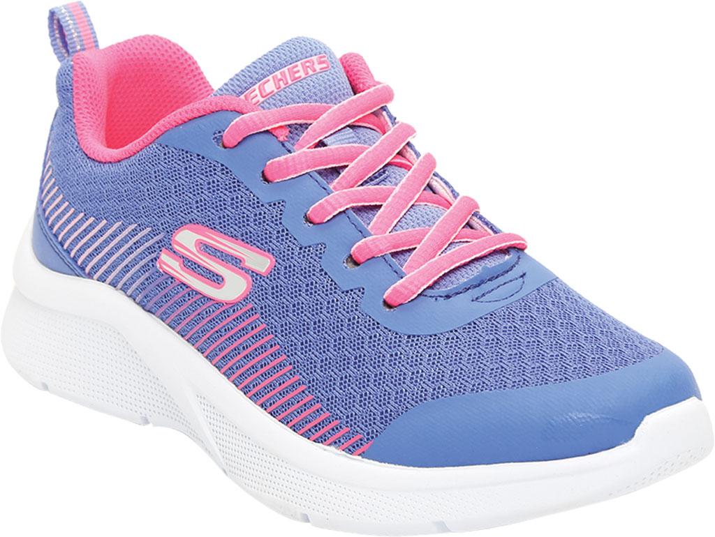 Girls' Skechers Microspec Radient Runner Sneaker, Blue/Neon Coral, large, image 1