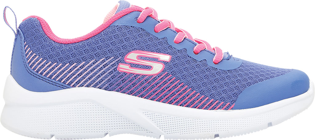Girls' Skechers Microspec Radient Runner Sneaker, Blue/Neon Coral, large, image 2