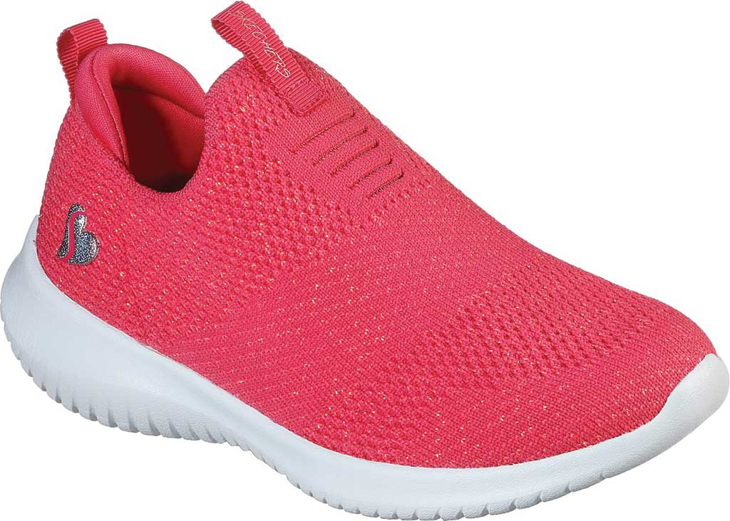 Girls' Skechers Ultra Flex Fluorescent Fun Slip On Sneaker, Neon Coral, large, image 1