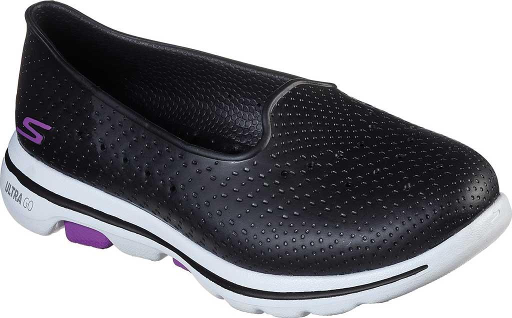 Women's Skechers Foamies Go Walk 5 Sun Kissed Slip-On, Black/White, large, image 1