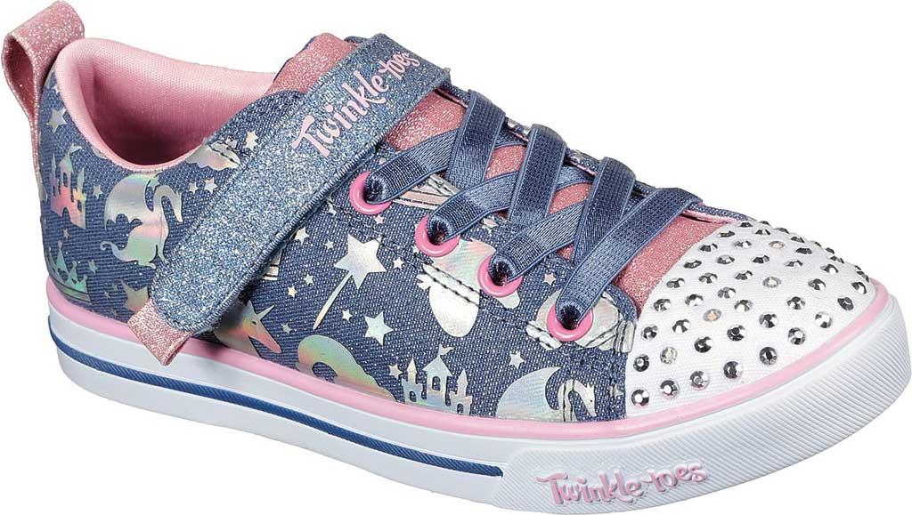 Girls' Skechers Twinkle Toes Sparkle Lite Princessland Sneaker, Light Blue/Multi, large, image 1