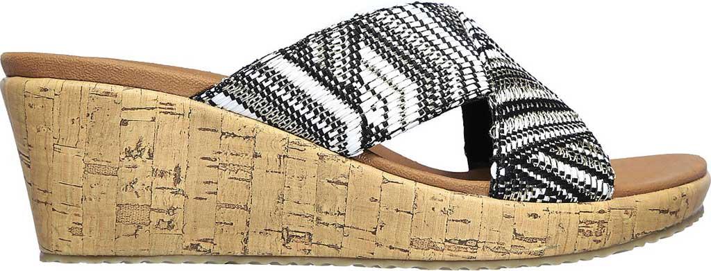 Women's Skechers Beverlee Golden Palace Wedge Slide, Black/Gold, large, image 2