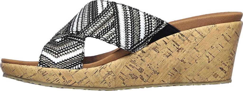 Women's Skechers Beverlee Golden Palace Wedge Slide, Black/Gold, large, image 3
