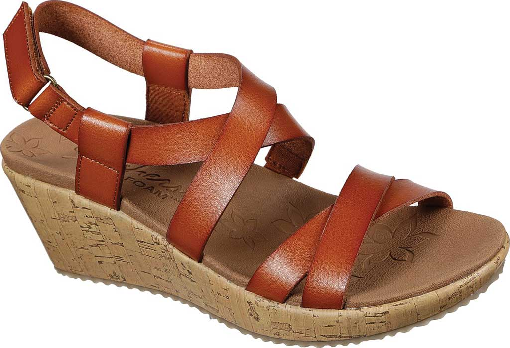 Women's Skechers Beverlee Dance Moves Strappy Wedge Sandal, Luggage, large, image 1