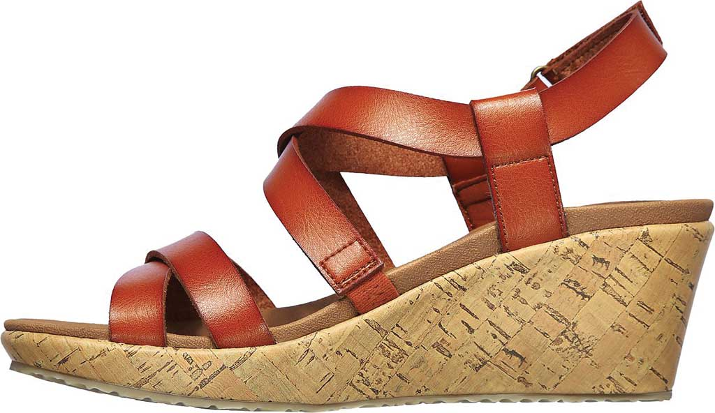 Women's Skechers Beverlee Dance Moves Strappy Wedge Sandal, Luggage, large, image 3