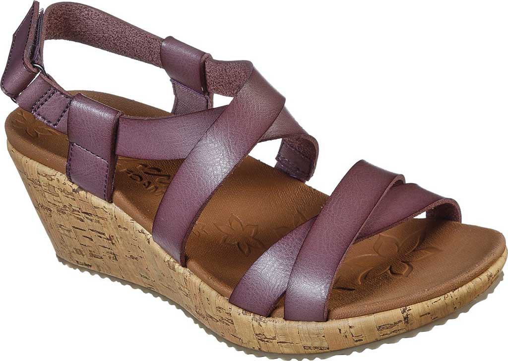 Women's Skechers Beverlee Dance Moves Strappy Wedge Sandal, Mauve, large, image 1