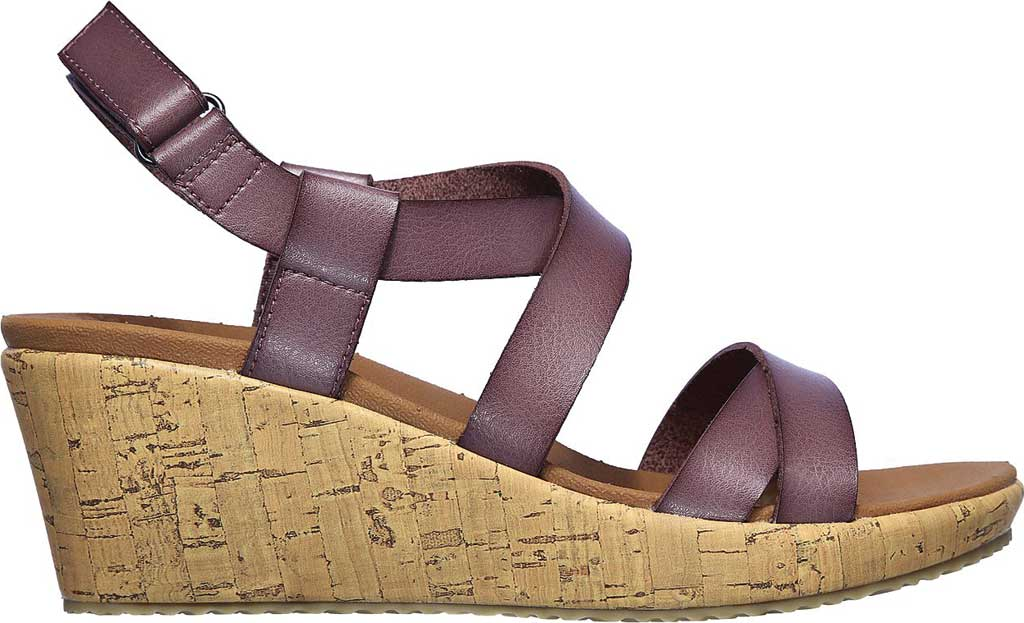 Women's Skechers Beverlee Dance Moves Strappy Wedge Sandal, Mauve, large, image 2
