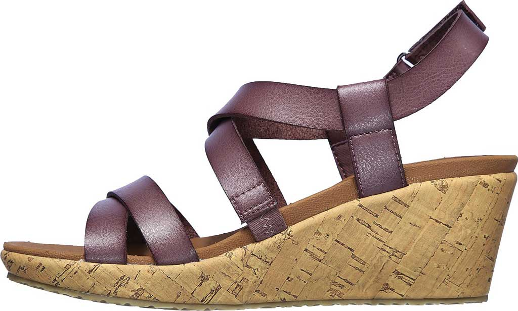 Women's Skechers Beverlee Dance Moves Strappy Wedge Sandal, Mauve, large, image 3