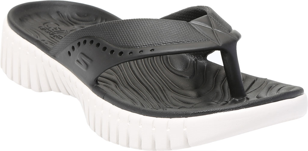Women's Skechers Foamies GOwalk Smart Mahalo Flip Flop, Black/White, large, image 1