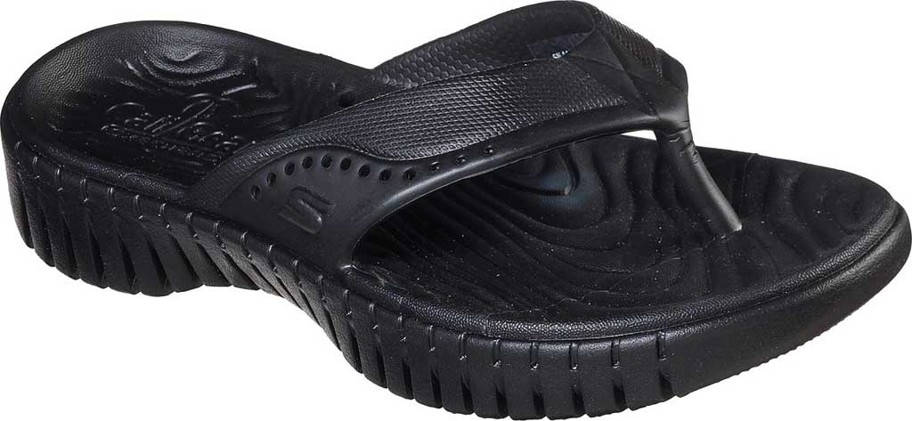 Women's Skechers Foamies GOwalk Smart Mahalo Flip Flop, Black/Black, large, image 1