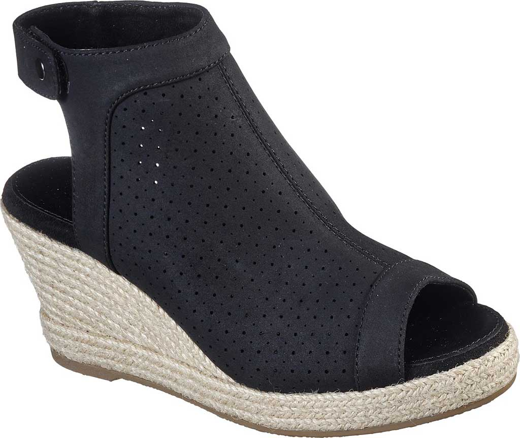 Women's Skechers Indigo Sky Love Dust Espadrille Wedge, Black, large, image 1