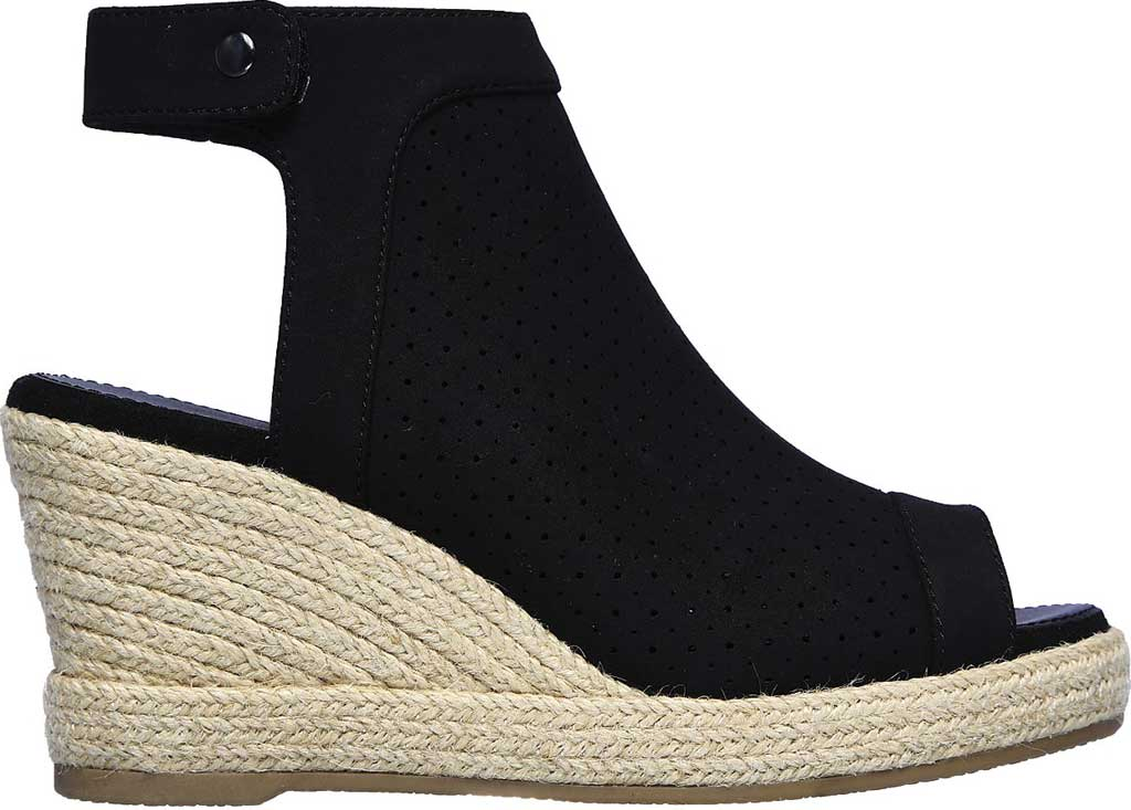 Women's Skechers Indigo Sky Love Dust Espadrille Wedge, Black, large, image 2