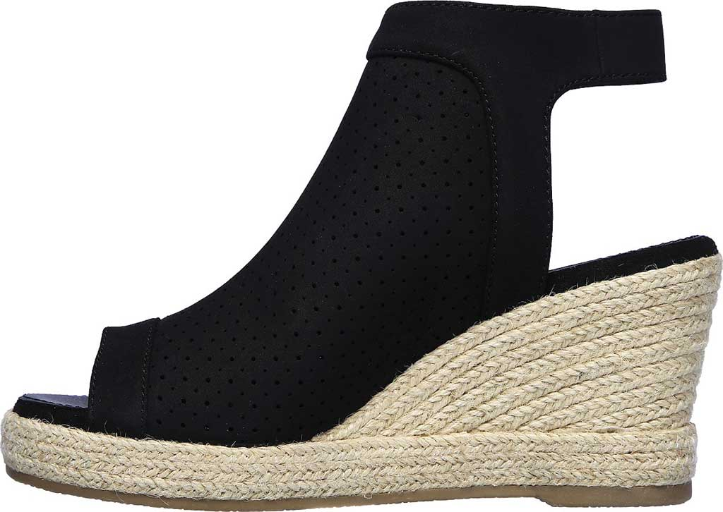 Women's Skechers Indigo Sky Love Dust Espadrille Wedge, Black, large, image 3