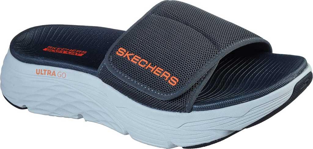 Men's Skechers Max Cushioning Slide, Charcoal/Orange, large, image 1