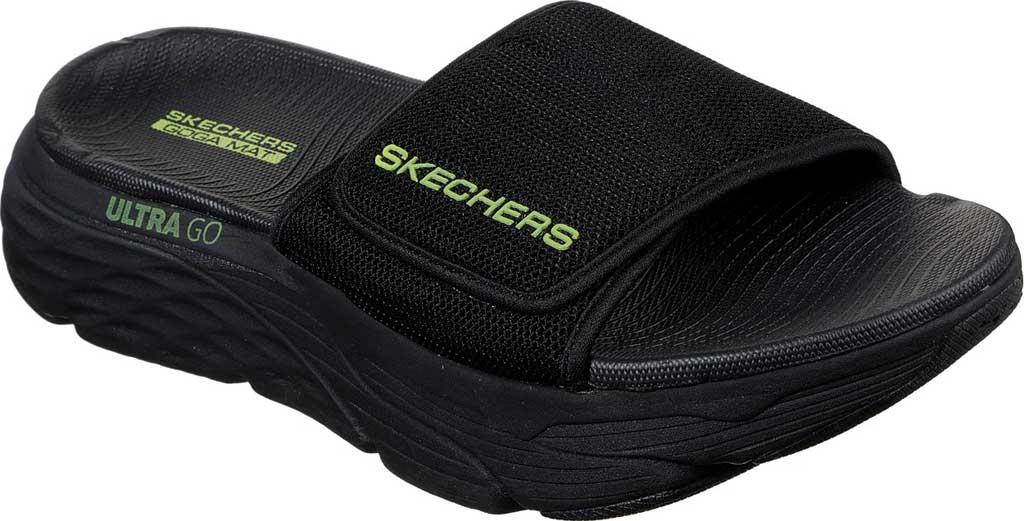 Men's Skechers Max Cushioning Slide, Black/Lime, large, image 1