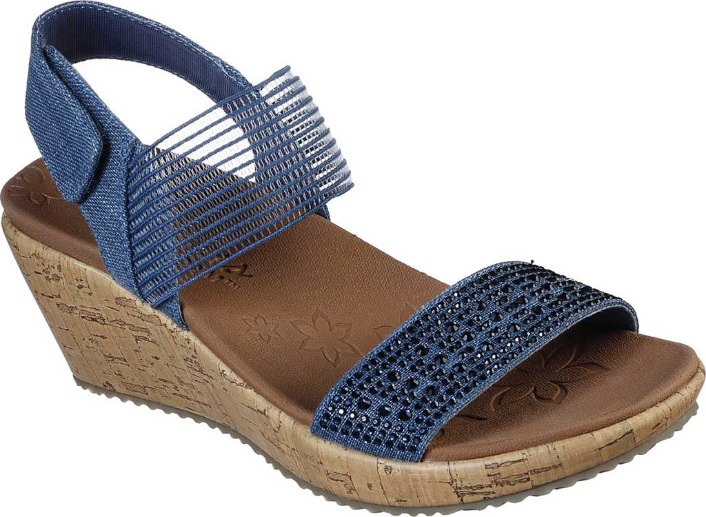 Women's Skechers Beverlee Pretty Chic Wedge Sandal, Navy, large, image 1