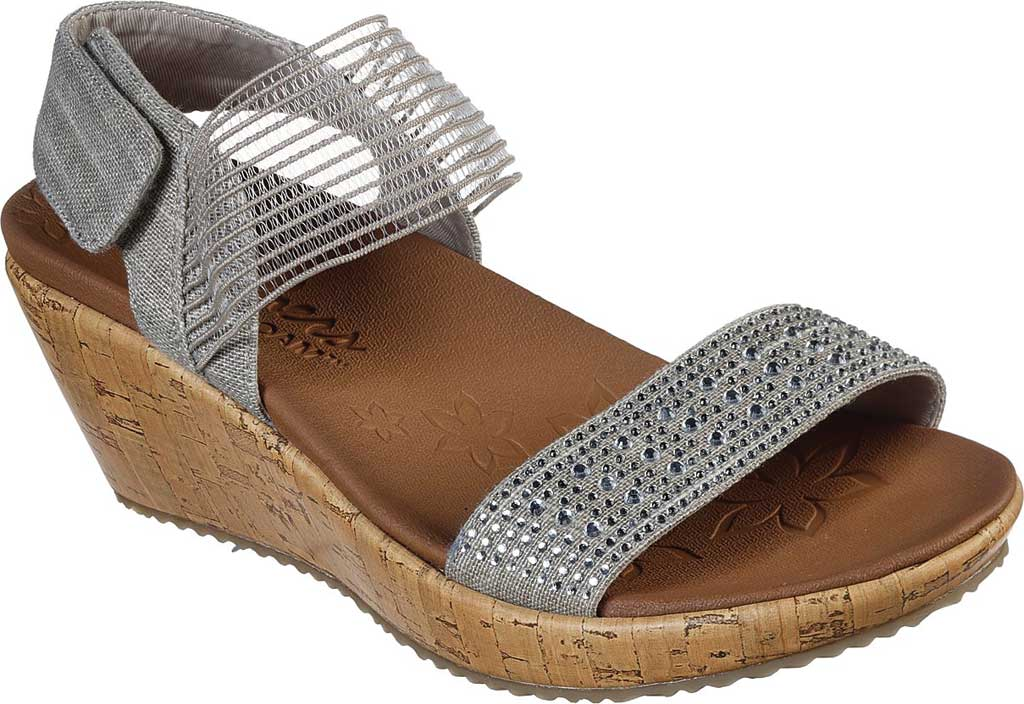 Women's Skechers Beverlee Pretty Chic Wedge Sandal, Taupe, large, image 1