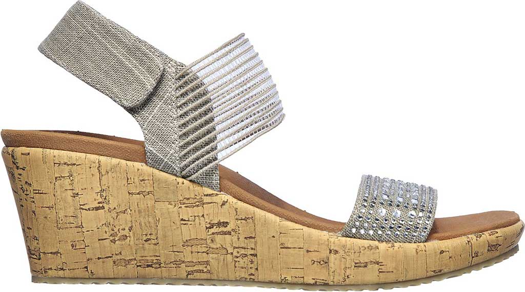 Women's Skechers Beverlee Pretty Chic Wedge Sandal, Taupe, large, image 2