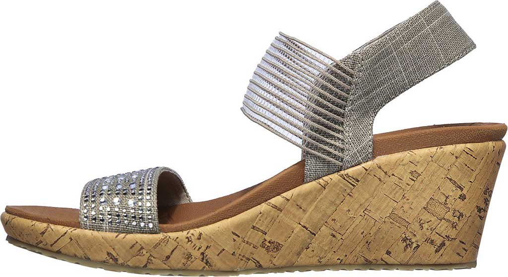Women's Skechers Beverlee Pretty Chic Wedge Sandal, Taupe, large, image 3
