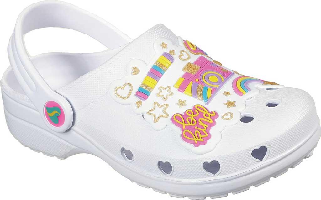 Girls' Skechers Foamies Heart Charmer Photobomb Clog, White/Multi, large, image 1