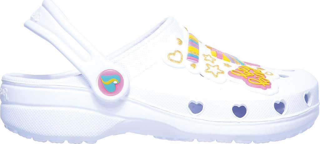 Girls' Skechers Foamies Heart Charmer Photobomb Clog, White/Multi, large, image 2
