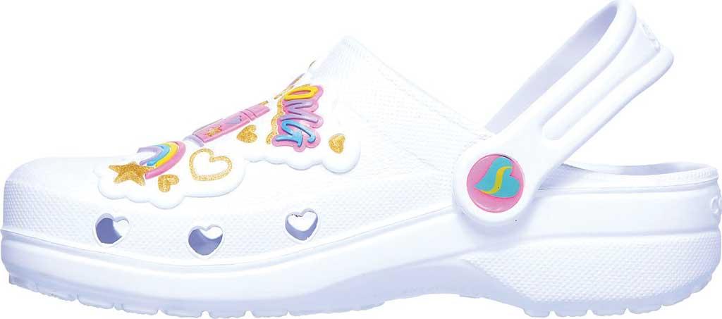 Girls' Skechers Foamies Heart Charmer Photobomb Clog, White/Multi, large, image 3
