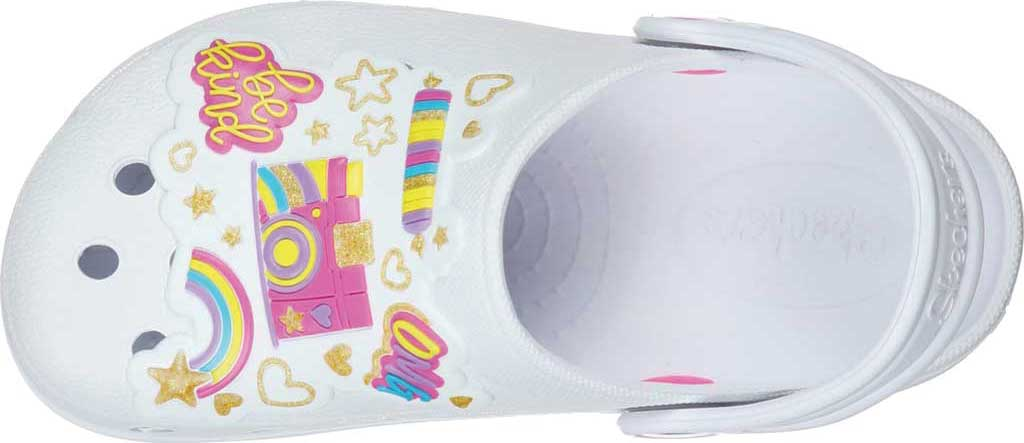 Girls' Skechers Foamies Heart Charmer Photobomb Clog, White/Multi, large, image 4