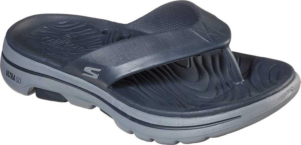 Men's Skechers Foamies GOwalk 5 Cabana Flip Flop, Charcoal, large, image 1