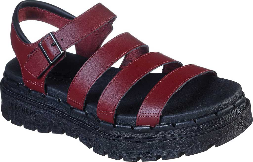 Women's Skechers Jammers Poppin' Strappy Sandal, Burgundy, large, image 1