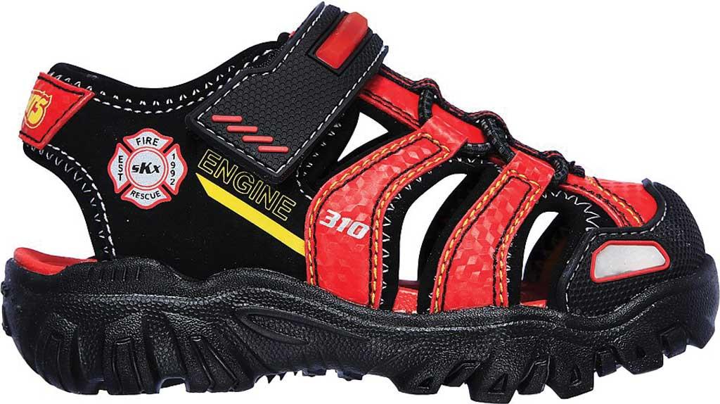 Infant Boys' Skechers Hot Lights Damager III Beach Blaze Sandal, Black/Red, large, image 2