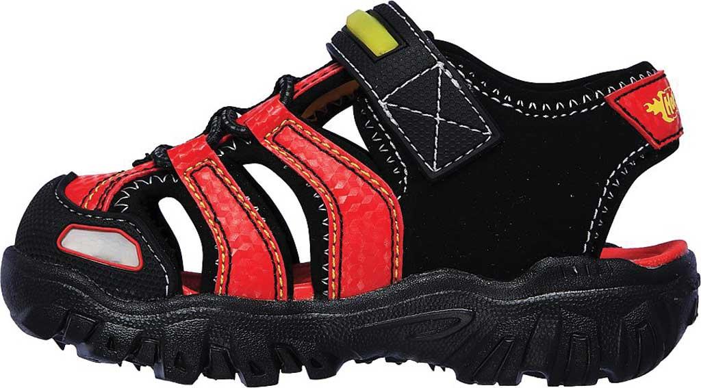 Infant Boys' Skechers Hot Lights Damager III Beach Blaze Sandal, Black/Red, large, image 3