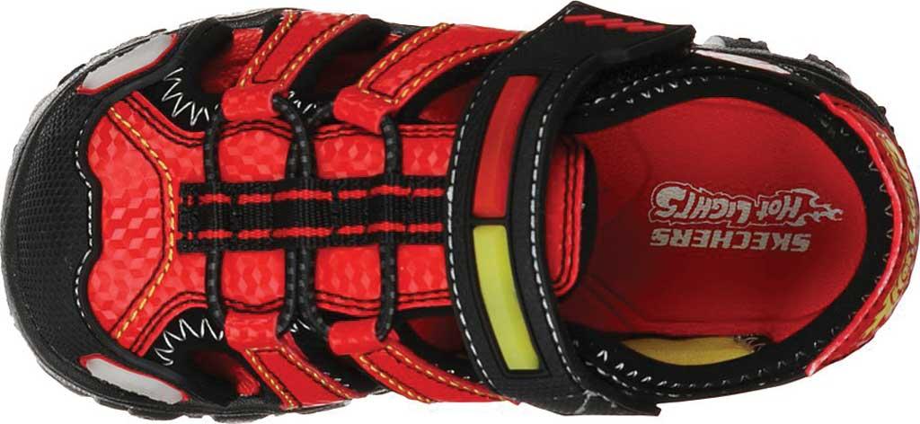 Infant Boys' Skechers Hot Lights Damager III Beach Blaze Sandal, Black/Red, large, image 4